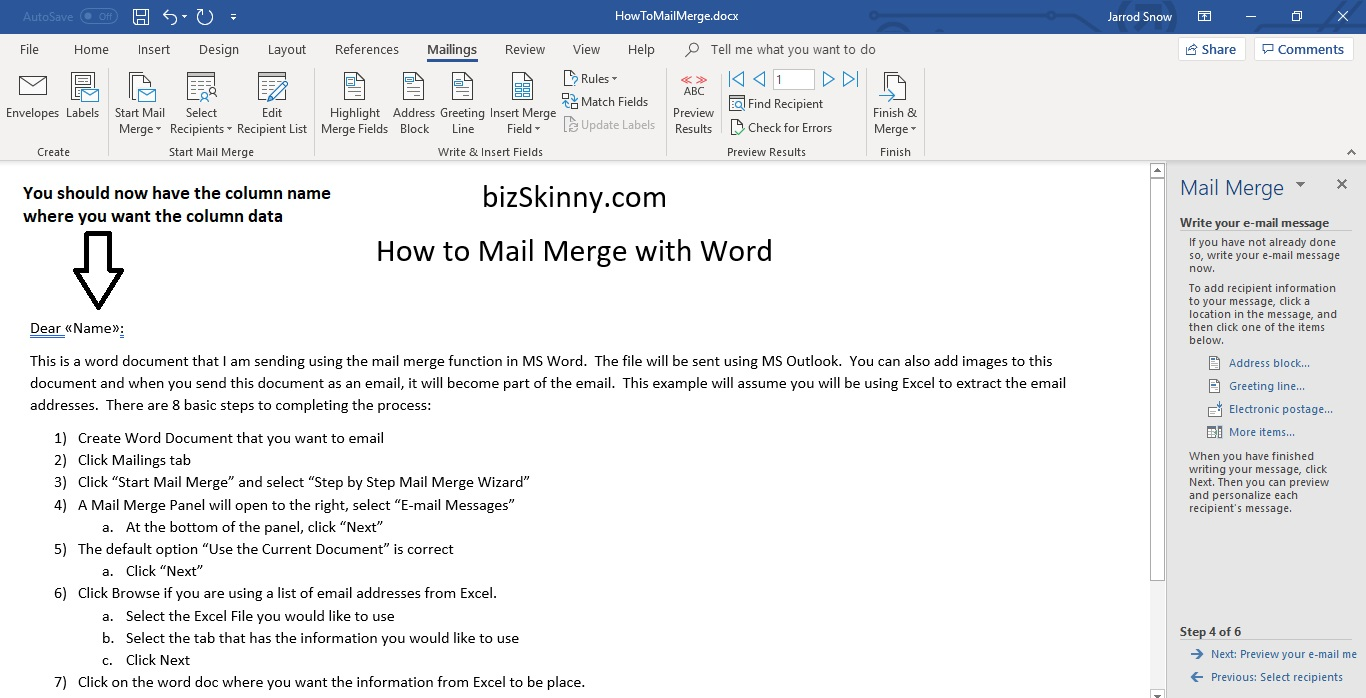 How to Mail Merge   Step by Step Email Mail Merge   Word, Excel, Outlook